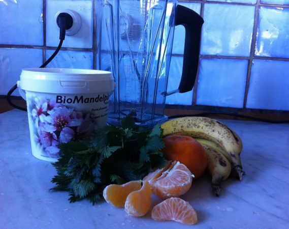Bananen Clementinen Wildkräuter Smoothie
